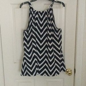 Cynthia Rowley, tie neck navy & white Chevron top